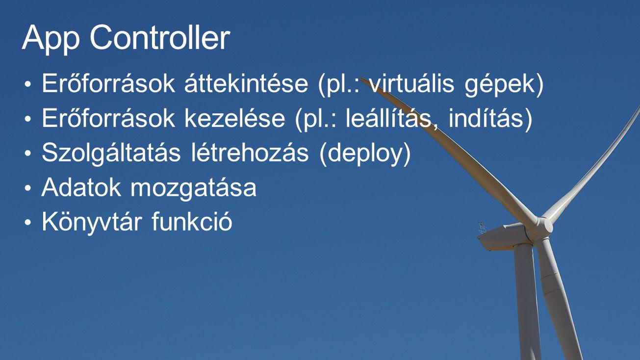 App Controller Erőforrások áttekintése (pl.: virtuális gépek) Erőforrások kezelése (pl.: leállítás, indítás) Szolgáltatás létrehozás (deploy) Adatok mozgatása Könyvtár funkció