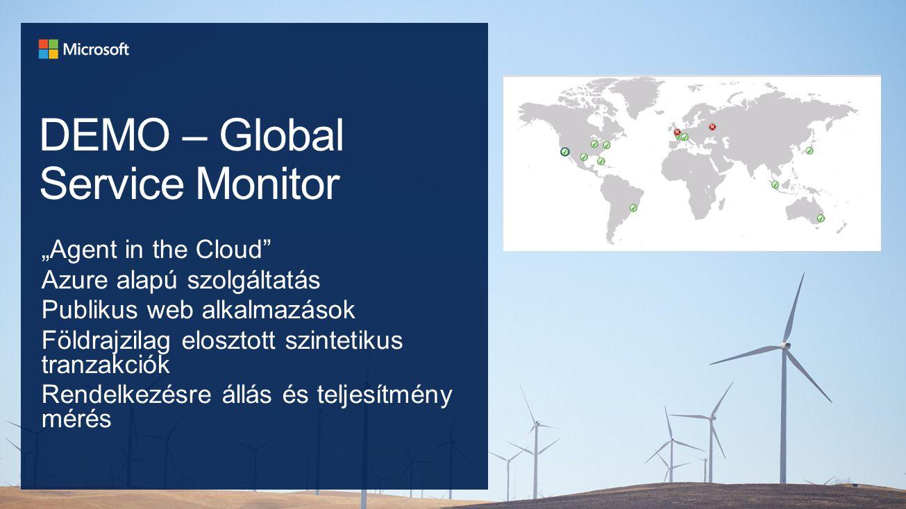 """DEMO – Global Service Monitor """"Agent in the Cloud Azure alapú szolgáltatás Publikus web alkalmazások Földrajzilag elosztott szintetikus tranzakciók Rendelkezésre állás és teljesítmény mérés"""