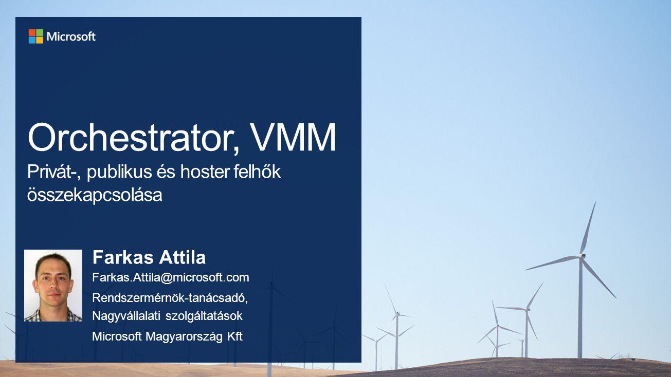 Felépítés Virtual Machine Manager Operations Manager Service Provider Foundation Windows Server 2012 R2 Hyper-V R2 w/ Service Provider Foundation Egyéb szolgáltatá s Service Bus SQL VMs Web Sites Ügyfelek Kezelése Előfizetés Szolgáltató i Portál Ügyfél Önkiszolgáló Portál Web oldalk alkalmazás Adatbázis VM Szolgáltató Ügyfél