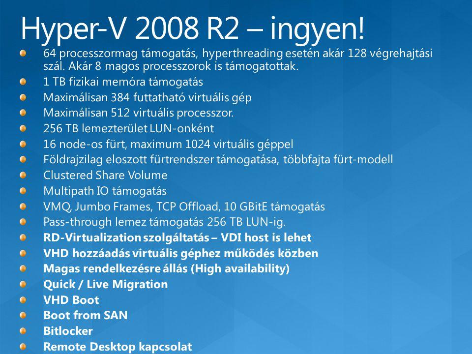 Virtualizációs igények Hyper-V Server 2008 R2 WS 2008 R2 Standard WS 2008 R2 Enterprise WS 2008 R2 Datacenter Licenc Ingyenes szoftver  A licenc részeként futtatható virtuális Windows Serverek száma 014korlátlan Megoldások Szerver konszolidáció  Tesztelés és fejlesztés  Fiókiroda kiszolgálók konszolidációja  Virtual Desktop Infrastructure (VDI)  Vegyes OS virtualizációk (Linux és Windows)  Dinamikus adatközpont  Képességek Host clustering  Live Migration  > 32 GB memóriatámogatás a gazdagépben  > 4 processzortámogatás a gazdagépben  GUI felület  További telepíthető szerverszerepek  A gazdagép licenc vendég gépre vonatkozó virtualizációs jogot tartalmaz  Alkalmazás redundancia 