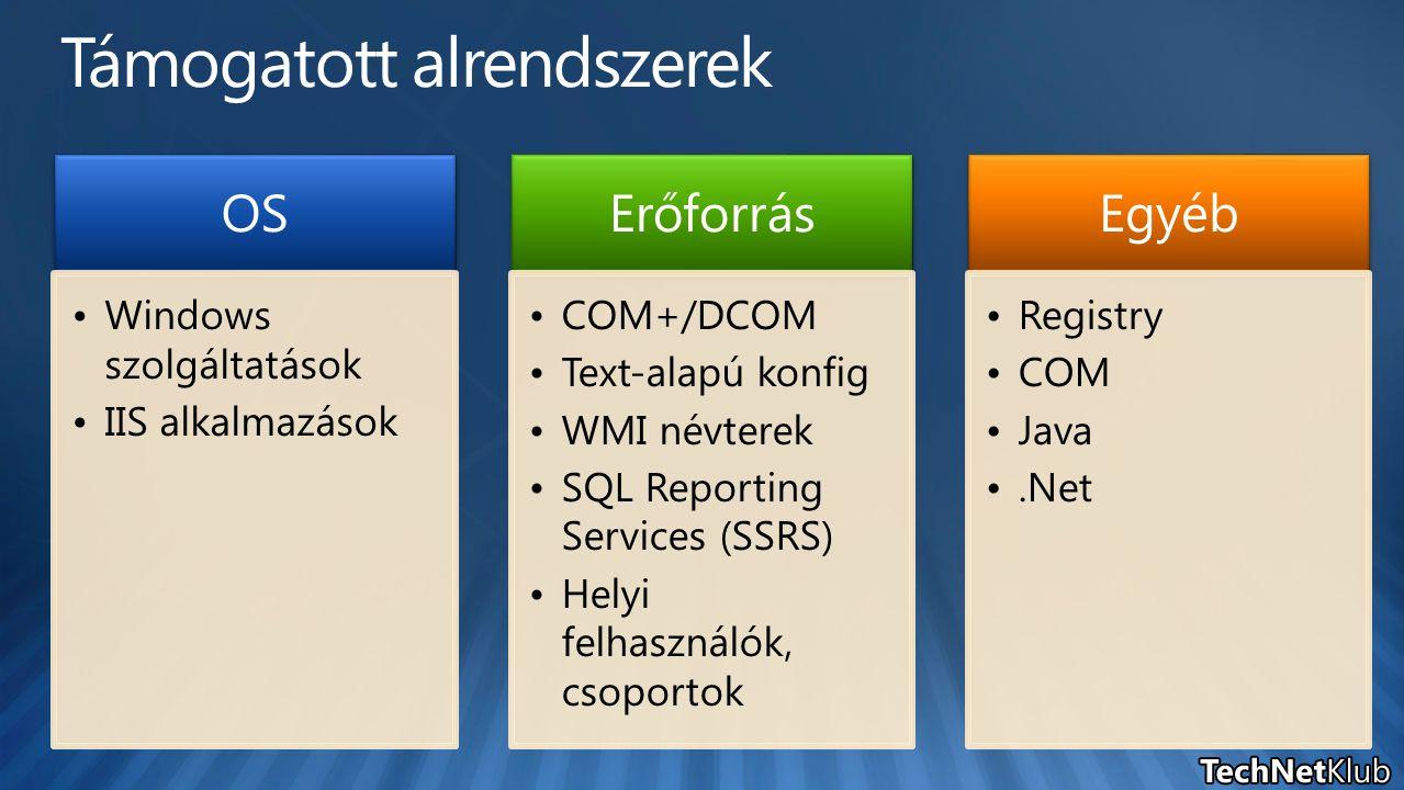 OS Windows szolgáltatások IIS alkalmazások Erőforrás COM+/DCOM Text-alapú konfig WMI névterek SQL Reporting Services (SSRS) Helyi felhasználók, csoportok Egyéb Registry COM Java.Net