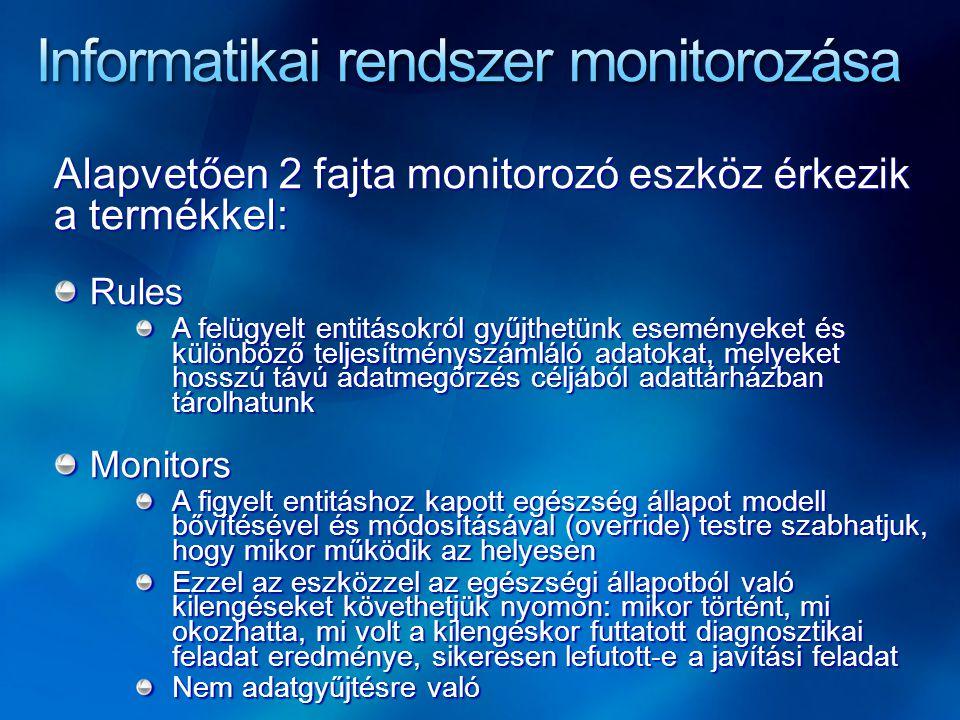 Alapvetően 2 fajta monitorozó eszköz érkezik a termékkel: Rules Rules A felügyelt entitásokról gyűjthetünk eseményeket és különböző teljesítményszámláló adatokat, melyeket hosszú távú adatmegőrzés céljából adattárházban tárolhatunk Monitors Monitors A figyelt entitáshoz kapott egészség állapot modell bővítésével és módosításával (override) testre szabhatjuk, hogy mikor működik az helyesen Ezzel az eszközzel az egészségi állapotból való kilengéseket követhetjük nyomon: mikor történt, mi okozhatta, mi volt a kilengéskor futtatott diagnosztikai feladat eredménye, sikeresen lefutott-e a javítási feladat Nem adatgyűjtésre való