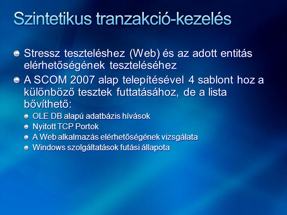 Stressz teszteléshez (Web) és az adott entitás elérhetőségének teszteléséhez A SCOM 2007 alap telepítésével 4 sablont hoz a különböző tesztek futtatásához, de a lista bővíthető: OLE DB alapú adatbázis hívások Nyitott TCP Portok A Web alkalmazás elérhetőségének vizsgálata Windows szolgáltatások futási állapota