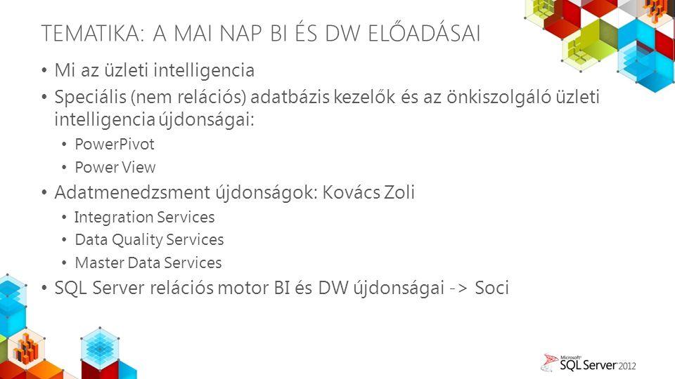 TEMATIKA: A MAI NAP BI ÉS DW ELŐADÁSAI Mi az üzleti intelligencia Speciális (nem relációs) adatbázis kezelők és az önkiszolgáló üzleti intelligencia ú
