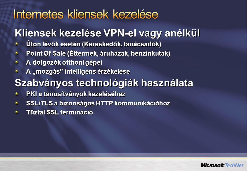 Kliensek kezelése VPN-el vagy anélkül Úton lévők esetén (Kereskedők, tanácsadók) Point Of Sale (Éttermek, áruházak, benzinkutak) A dolgozók otthoni gé