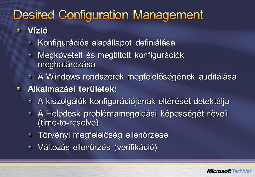 Vízió Konfigurációs alapállapot definiálása Megkövetelt és megtiltott konfigurációk meghatározása A Windows rendszerek megfelelőségének auditálása Alk