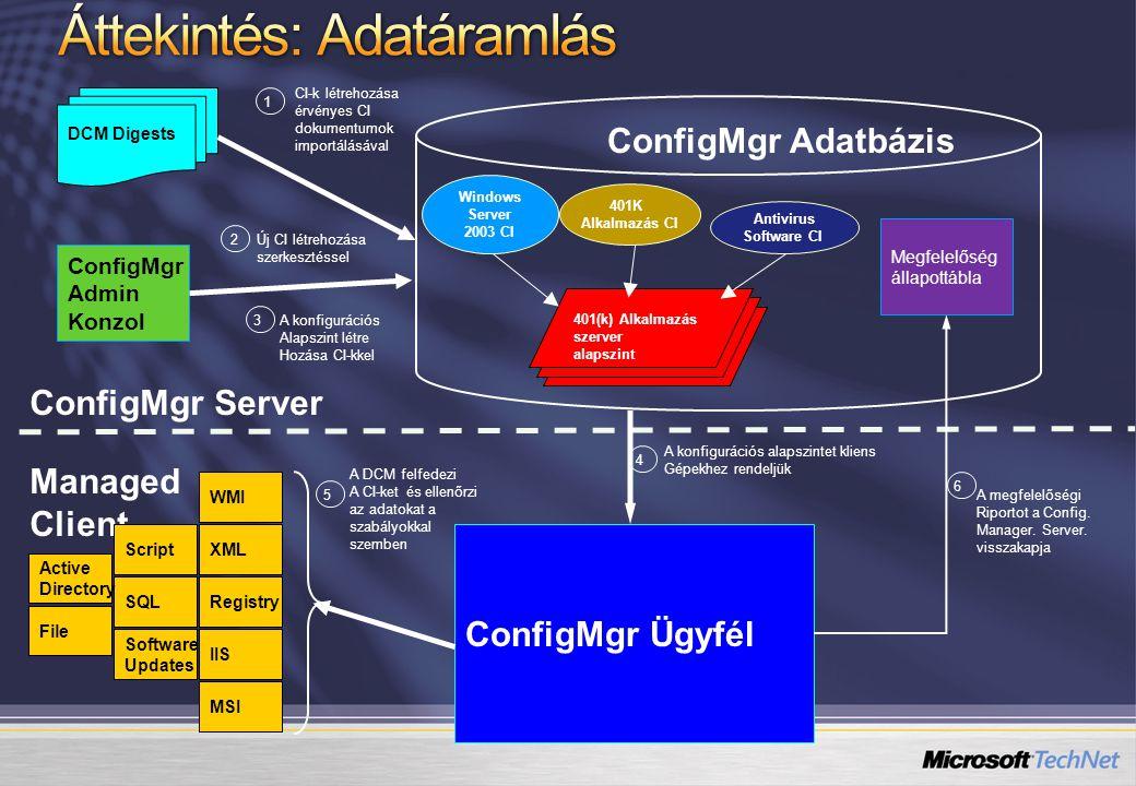 DCM Digests ConfigMgr Admin Konzol ConfigMgr Server Windows Server 2003 CI 401K Alkalmazás CI Antivirus Software CI ConfigMgr Adatbázis 401(k) Alkalma