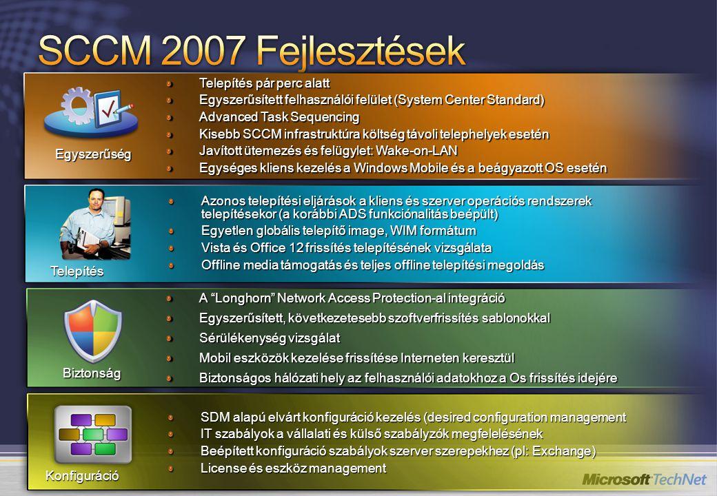 DCM Digests ConfigMgr Admin Konzol ConfigMgr Server Windows Server 2003 CI 401K Alkalmazás CI Antivirus Software CI ConfigMgr Adatbázis 401(k) Alkalmazás szerver alapszint ConfigMgr Ügyfél Managed Client WMI XML Registry IIS MSI 1 CI-k létrehozása érvényes CI dokumentumok importálásával 2Új CI létrehozása szerkesztéssel 3A konfigurációs Alapszint létre Hozása CI-kkel A konfigurációs alapszintet kliens Gépekhez rendeljük 4 A DCM felfedezi A CI-ket és ellenőrzi az adatokat a szabályokkal szemben 5A megfelelőségi Riportot a Config.
