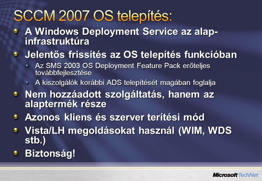 A Windows Deployment Service az alap- infrastruktúra Jelentős frissítés az OS telepítés funkcióban Az SMS 2003 OS Deployment Feature Pack erőteljes to