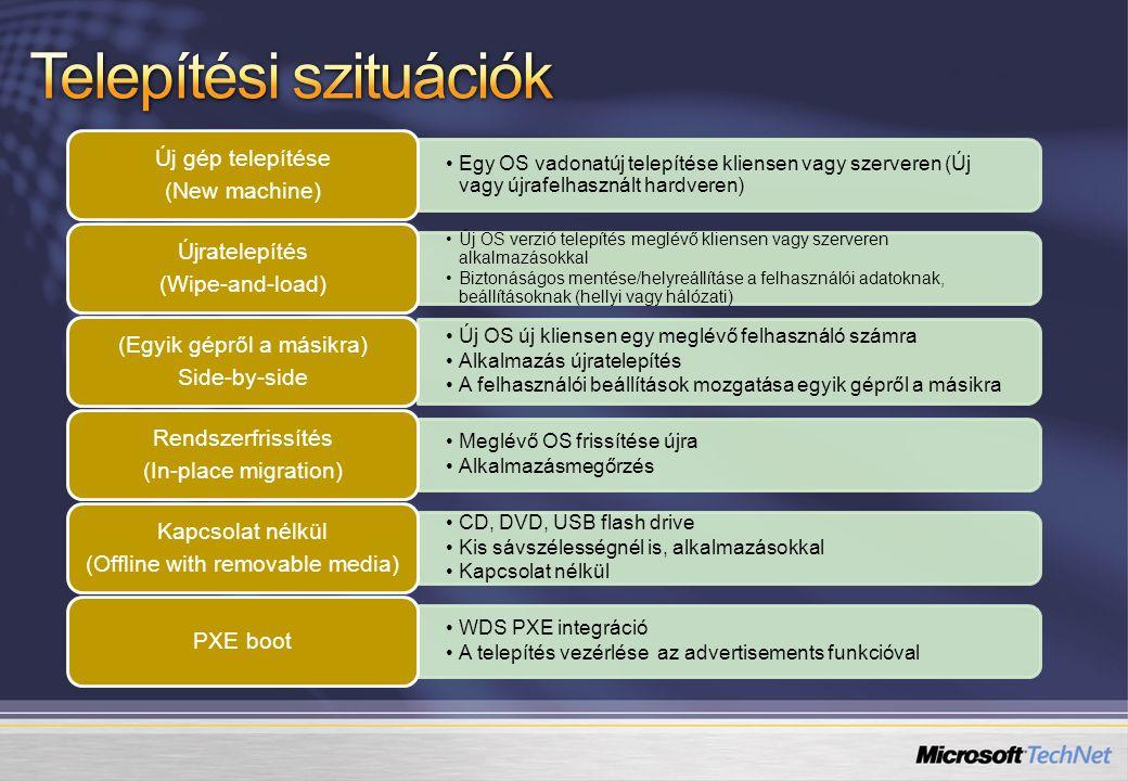 """Új DP-k egyszerűbb feltöltése Varázslóalapú DP klónozás DP alapú szelektív csomagmásolás Csomagmásoló varázsló Meghatározza, hogy mikor történhet változás A kollekciókból vonja össze Engedélyezés / kikapcsolás """"ablakonként Karbantartási ablak Meglévő kliensgépek használata Ütemezett/ Szabályozott / BITS alapú Távoli telephely DP"""