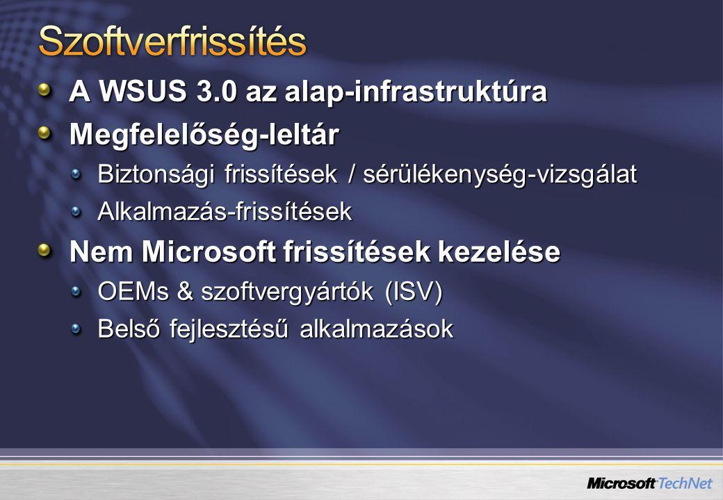 A WSUS 3.0 az alap-infrastruktúra Megfelelőség-leltár Biztonsági frissítések / sérülékenység-vizsgálat Alkalmazás-frissítések Nem Microsoft frissítése