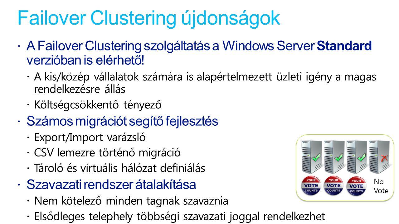 Failover Clustering újdonságok  A Failover Clustering szolgáltatás a Windows Server Standard verzióban is elérhető.
