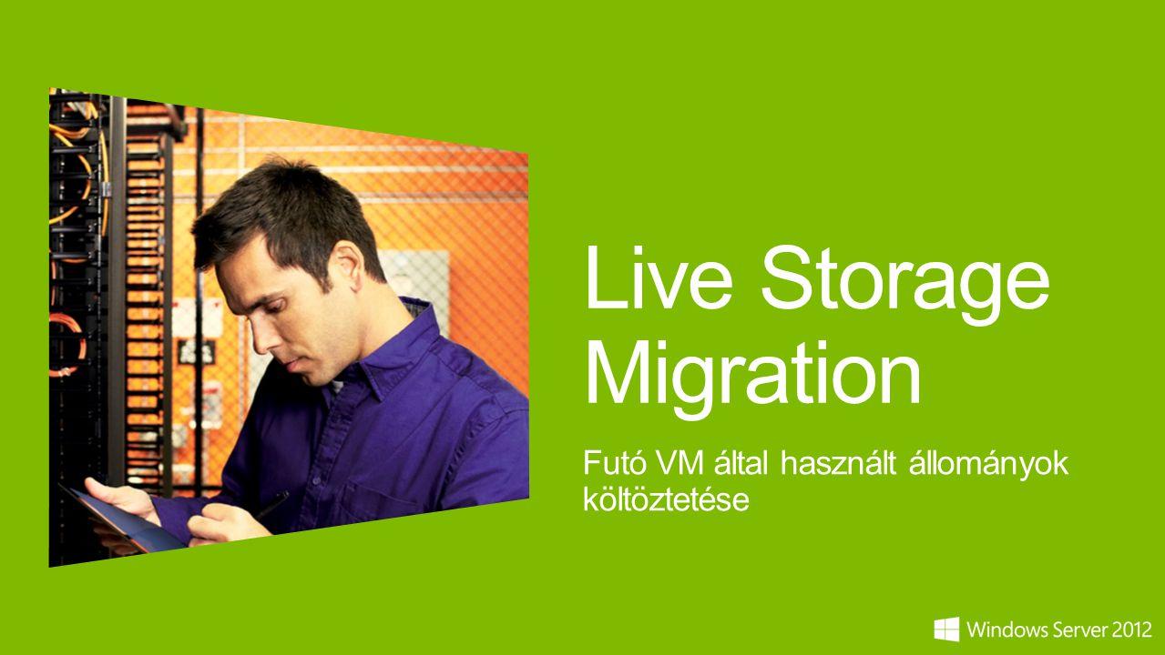 Live Storage Migration Futó VM által használt állományok költöztetése