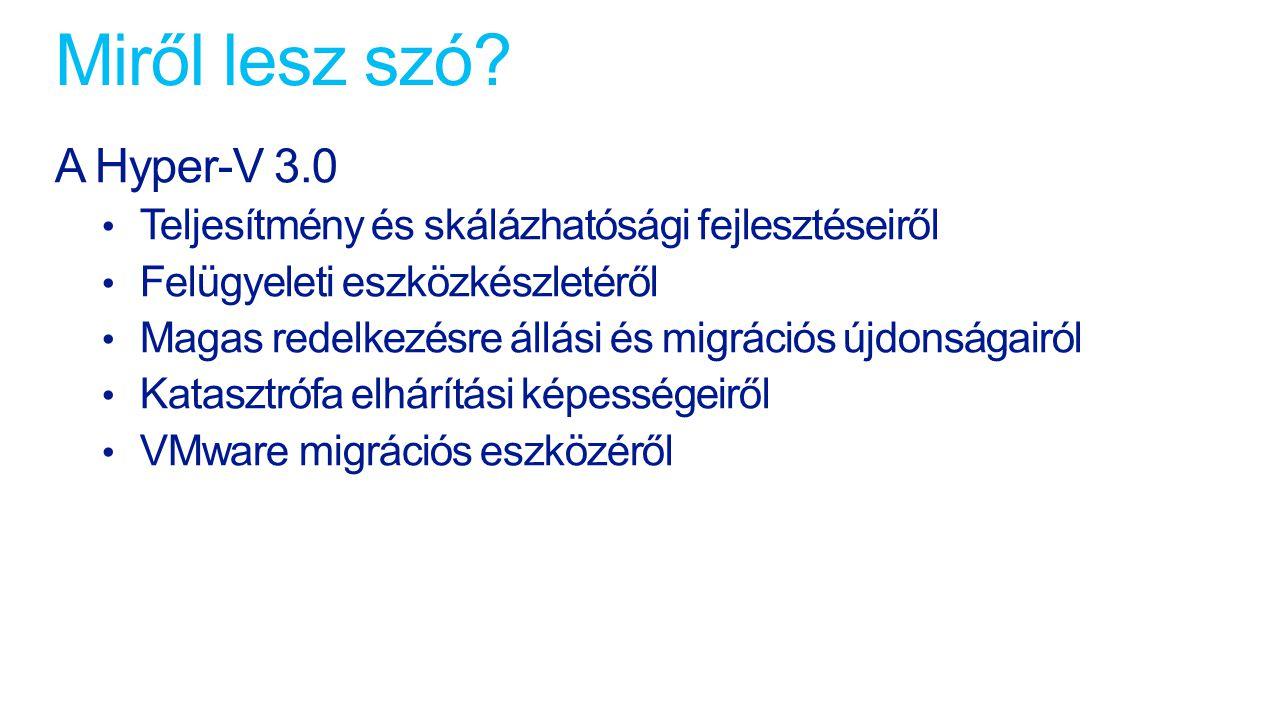 Shared Nothing Live Migration VM2 Host 1 Host 2 Live Migration futtatása VM1 Network Nem a hagyományos WSFC kiváltására szolgáló megoldás A virtuális gépeket kényelmesen és kiesés nélkül költöztethetjük a felhasználásuk szerinti legoptimálisabb kiszolgálóra Önálló Hyper-V hosztok és Cluster rendszerek között egyaránt használható A komplett gép (VHD és futási állapot) költözik VM3 Folyamatos működés biztosítására Hardver hibák elleni védelemhez Telephely redundáns működéséhez Adatsérülés elleni védelemhez Hiba esetén automatikus beavatkozás Munkacsoport kompatibilis 