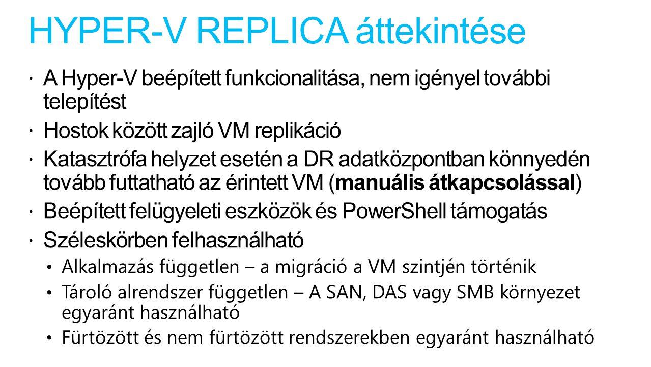 HYPER-V REPLICA áttekintése  A Hyper-V beépített funkcionalitása, nem igényel további telepítést  Hostok között zajló VM replikáció  Katasztrófa helyzet esetén a DR adatközpontban könnyedén tovább futtatható az érintett VM (manuális átkapcsolással)  Beépített felügyeleti eszközök és PowerShell támogatás  Széleskörben felhasználható Alkalmazás független – a migráció a VM szintjén történik Tároló alrendszer független – A SAN, DAS vagy SMB környezet egyaránt használható Fürtözött és nem fürtözött rendszerekben egyaránt használható