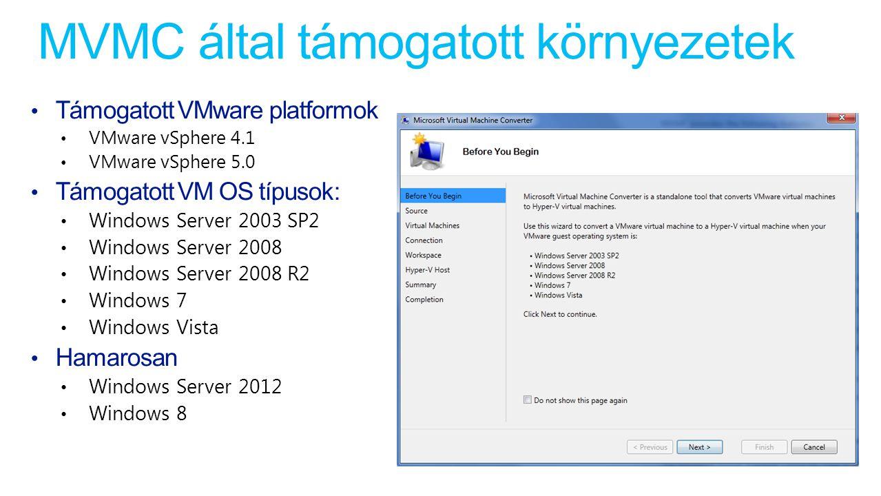 MVMC által támogatott környezetek Támogatott VMware platformok VMware vSphere 4.1 VMware vSphere 5.0 Támogatott VM OS típusok: Windows Server 2003 SP2 Windows Server 2008 Windows Server 2008 R2 Windows 7 Windows Vista Hamarosan Windows Server 2012 Windows 8