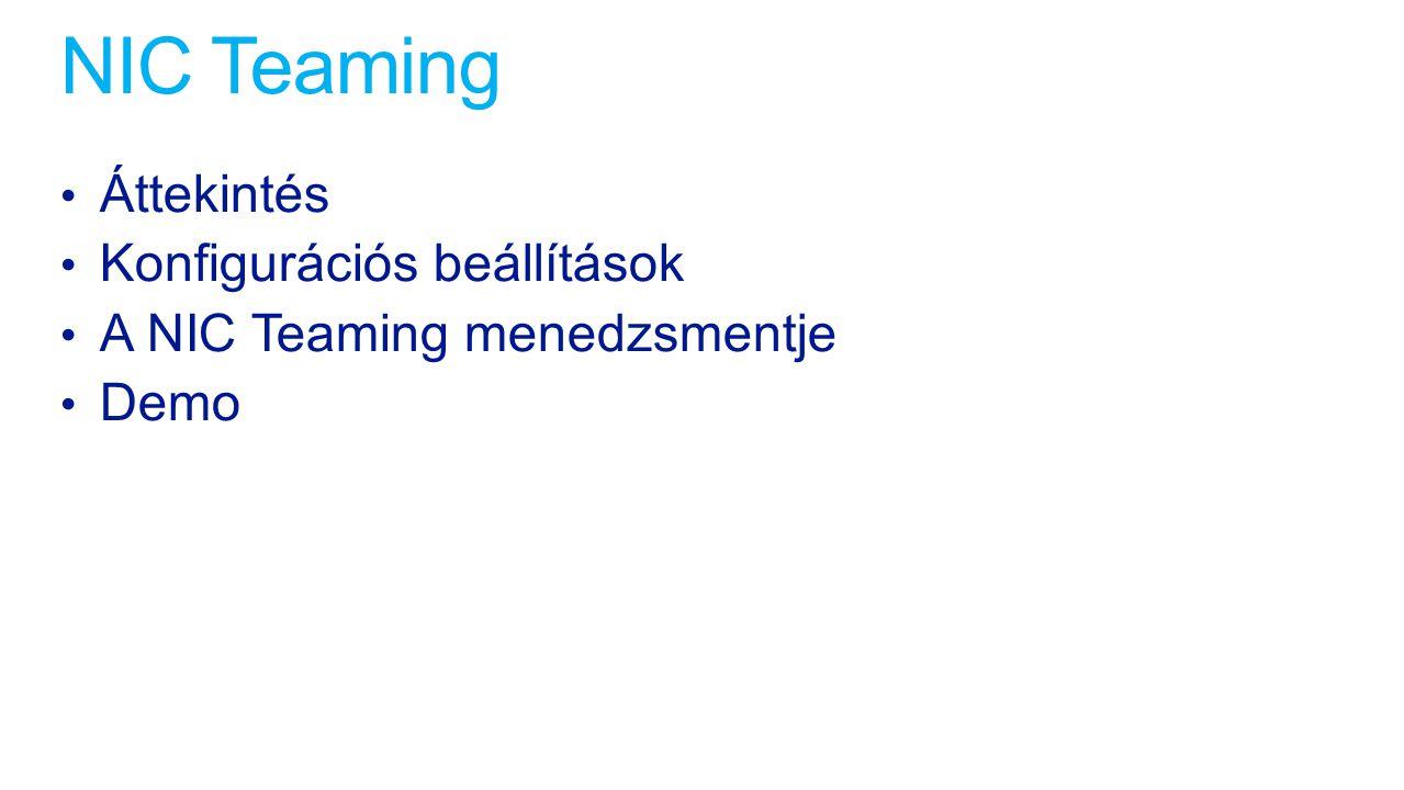 NIC Teaming Áttekintés Konfigurációs beállítások A NIC Teaming menedzsmentje Demo