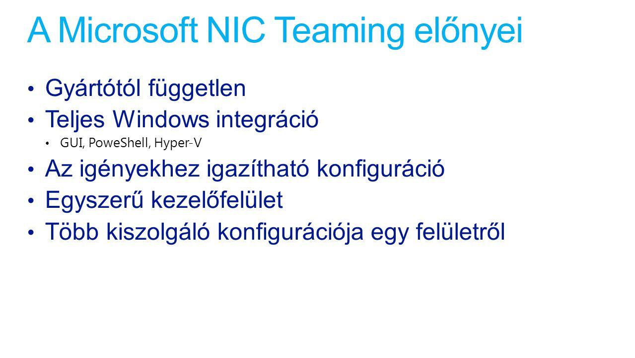 A Microsoft NIC Teaming előnyei Gyártótól független Teljes Windows integráció GUI, PoweShell, Hyper-V Az igényekhez igazítható konfiguráció Egyszerű k
