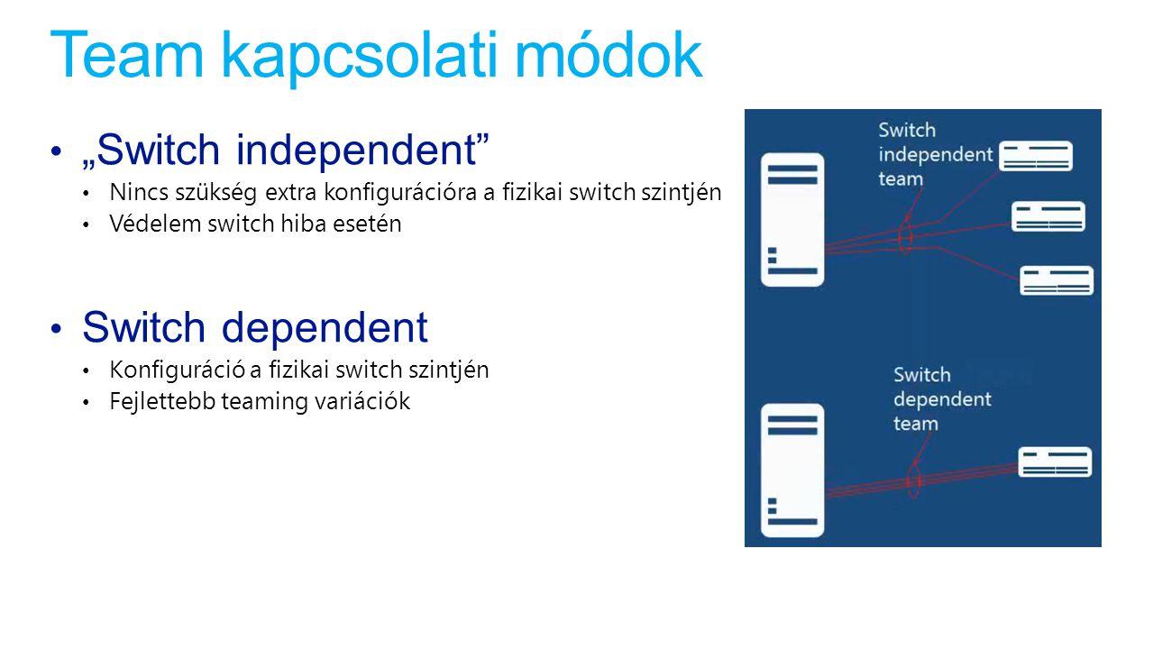 """Team kapcsolati módok """"Switch independent"""" Nincs szükség extra konfigurációra a fizikai switch szintjén Védelem switch hiba esetén Switch dependent Ko"""