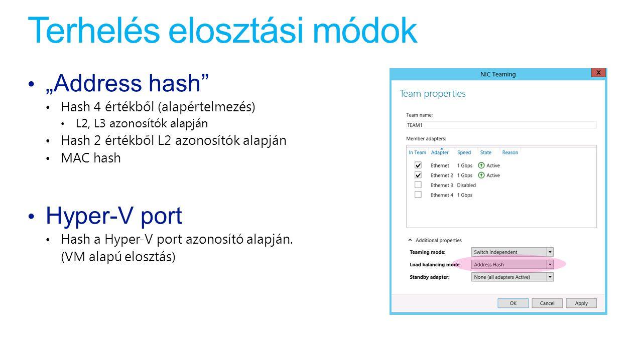 """Terhelés elosztási módok """"Address hash"""" Hash 4 értékből (alapértelmezés) L2, L3 azonosítók alapján Hash 2 értékből L2 azonosítók alapján MAC hash Hype"""