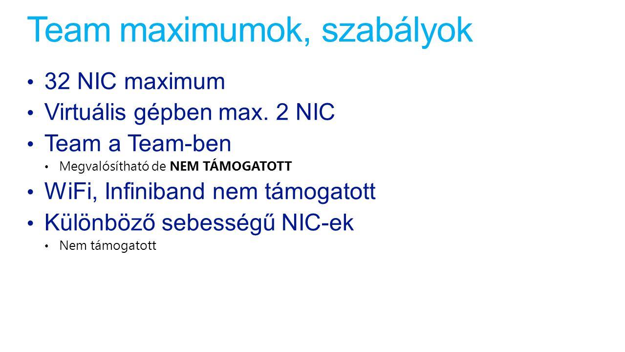 Team maximumok, szabályok 32 NIC maximum Virtuális gépben max. 2 NIC Team a Team-ben Megvalósítható de NEM TÁMOGATOTT WiFi, Infiniband nem támogatott
