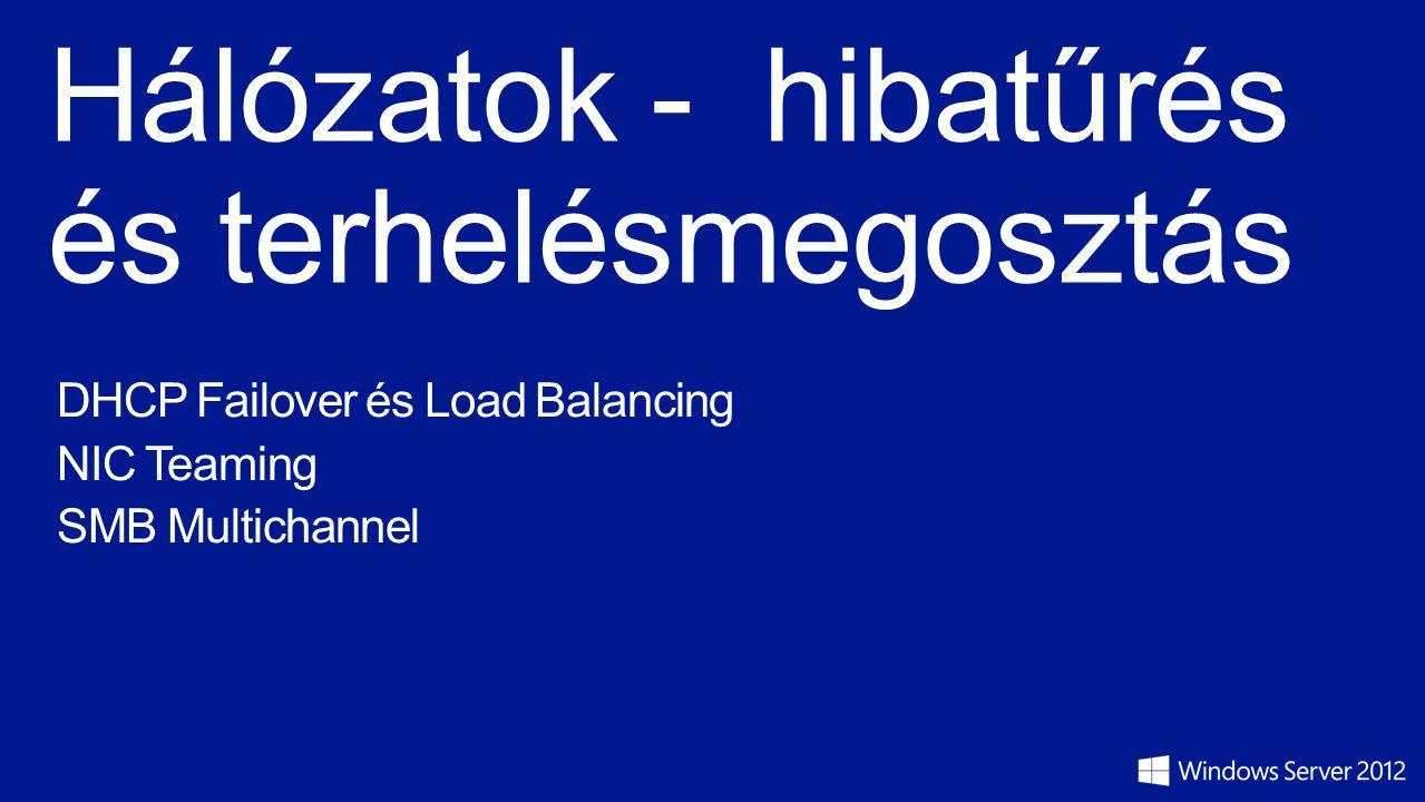 Windows Server 2012 Hálózati újdonságok 802.1X Authentikáció (Vezetékes és vezeték nélküli elérés) változása, EAP-TTLS BranchCache változása (biztonság, teljesítmény) Data Center Bridging (Konvergált adatközponti infrastruktúra) DHCP Failover és Load Balancing DNS változása (DNSSec, Kliens és szerver optimizálás) Hyper-V Network Virtualzation (SCVMM 2012 sp1) Hyper-V Virtual Switch változások (sok új funkció konfigurálható PowerShell-ben) IP Address Management (IPAM) Network Policy and Access Services változások (PowerShell) NIC Teaming (Hibatűrés és aggregáció) Quality of Services (QoS) (Policy based és Hyper-V QoS) RRAS és Directaccess Unified role kombináció SMB 3.0