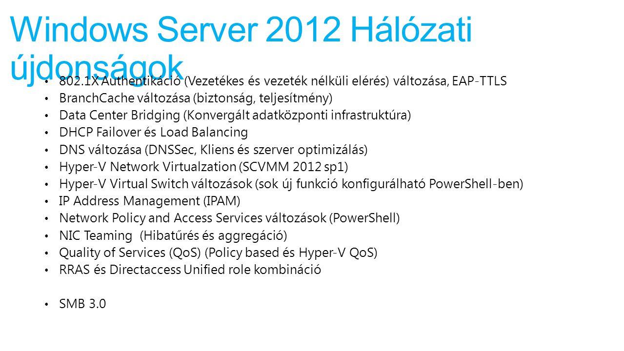 Windows Server 2012 Hálózati újdonságok 802.1X Authentikáció (Vezetékes és vezeték nélküli elérés) változása, EAP-TTLS BranchCache változása (biztonsá
