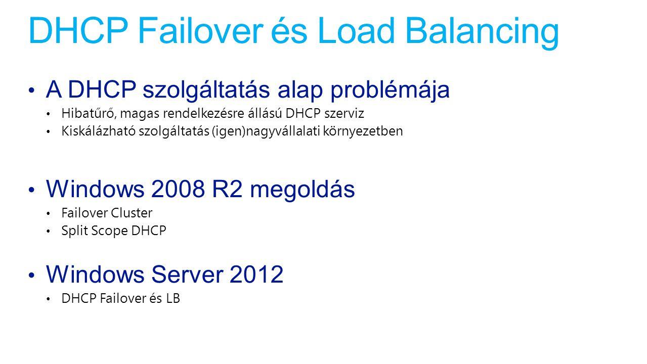 DHCP Failover architektúra Hot standby mód Meleg tartalék Több modell Terhelésmegosztó mód Több scope is elhelyezhető a telephelyen elosztott kiszolgálókon