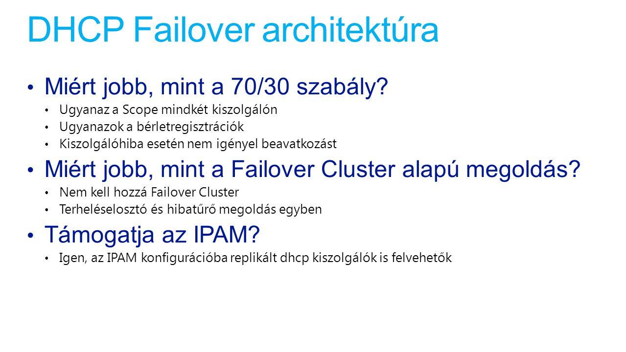DHCP Failover architektúra Miért jobb, mint a 70/30 szabály? Ugyanaz a Scope mindkét kiszolgálón Ugyanazok a bérletregisztrációk Kiszolgálóhiba esetén