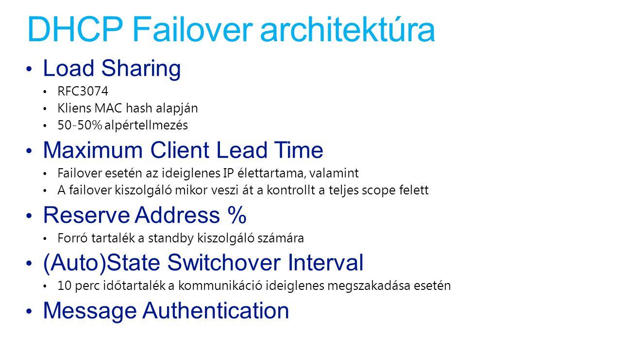DHCP Failover architektúra Load Sharing RFC3074 Kliens MAC hash alapján 50-50% alpértellmezés Maximum Client Lead Time Failover esetén az ideiglenes I
