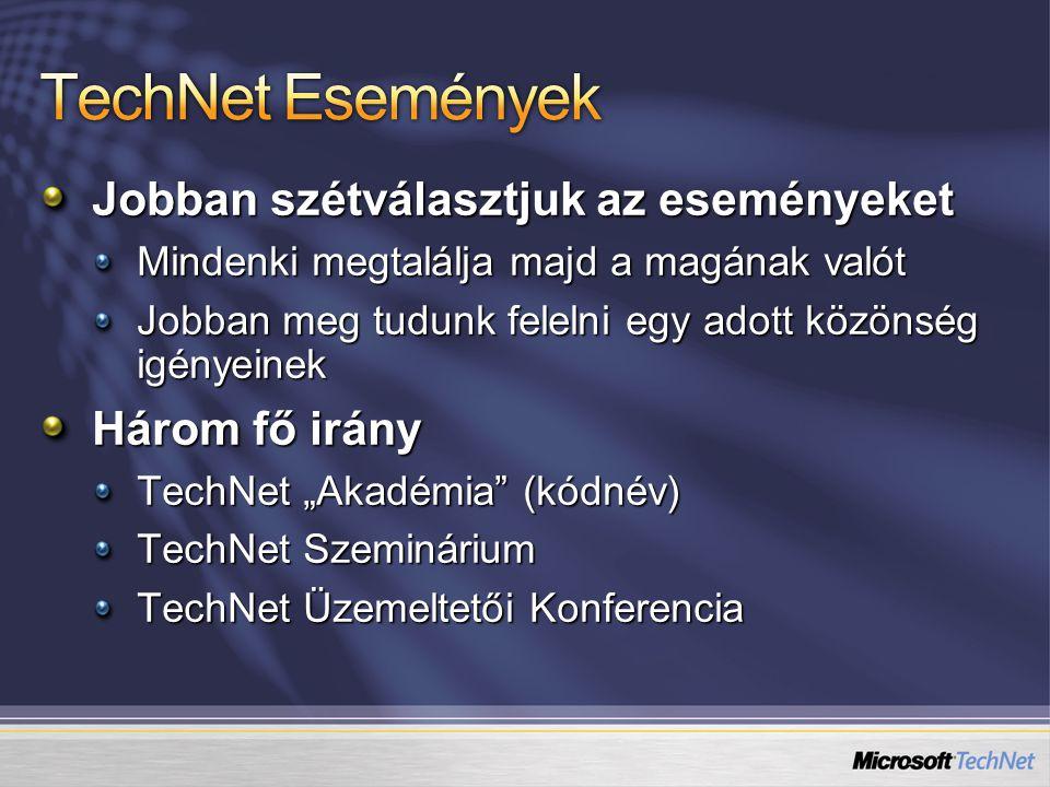 """Jobban szétválasztjuk az eseményeket Mindenki megtalálja majd a magának valót Jobban meg tudunk felelni egy adott közönség igényeinek Három fő irány TechNet """"Akadémia (kódnév) TechNet Szeminárium TechNet Üzemeltetői Konferencia"""