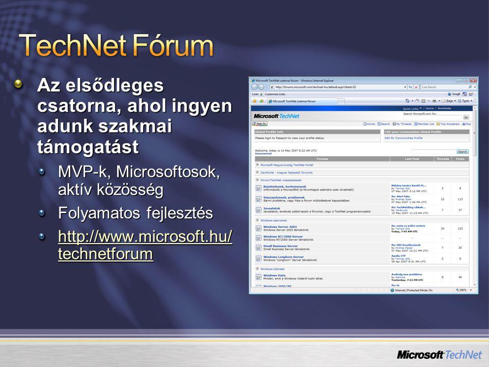 Az elsődleges csatorna, ahol ingyen adunk szakmai támogatást MVP-k, Microsoftosok, aktív közösség Folyamatos fejlesztés http://www.microsoft.hu/ technetforum http://www.microsoft.hu/ technetforum