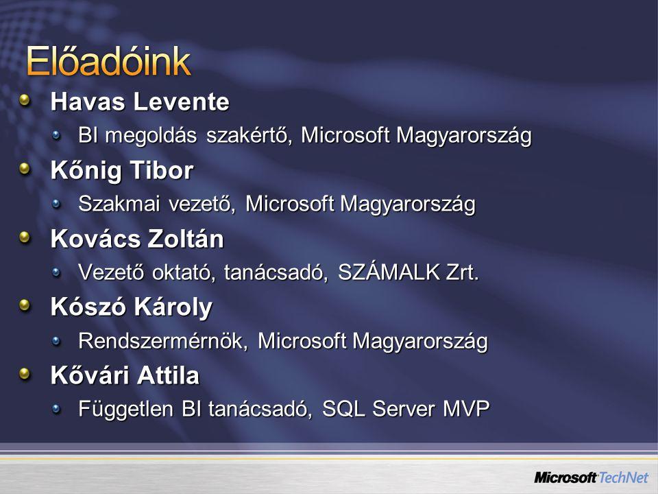 Havas Levente BI megoldás szakértő, Microsoft Magyarország Kőnig Tibor Szakmai vezető, Microsoft Magyarország Kovács Zoltán Vezető oktató, tanácsadó, SZÁMALK Zrt.