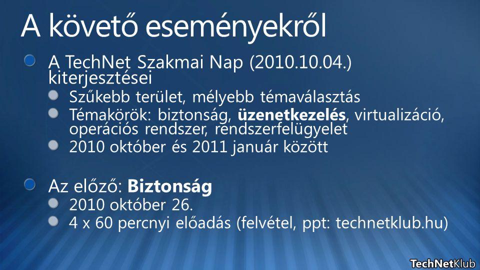 AD Site E2003 Routing Group E2003 Bridgehead E2003 Back-End E2010 HUB E2010 MBX E2007 HUB E2007 MBX E2010 EdgeE2007 Edge E2003 és E2007 frissítése SP2-re 1 1 Telepítsünk HUB MBX 2010-et 2 2 Állítsuk át az Edgesync + SMTP forgalmat a HUB2010-re 3 3 Internet SMTP Server Telepítsünk Edge 2010-et 4 4 Irányítsuk az internetes e-maileket az Edge2010-re 4 4