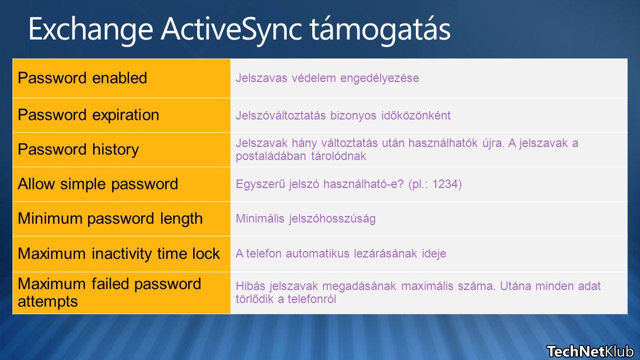 Password enabled Jelszavas védelem engedélyezése Password expiration Jelszóváltoztatás bizonyos időközönként Password history Jelszavak hány változtatás után használhatók újra.