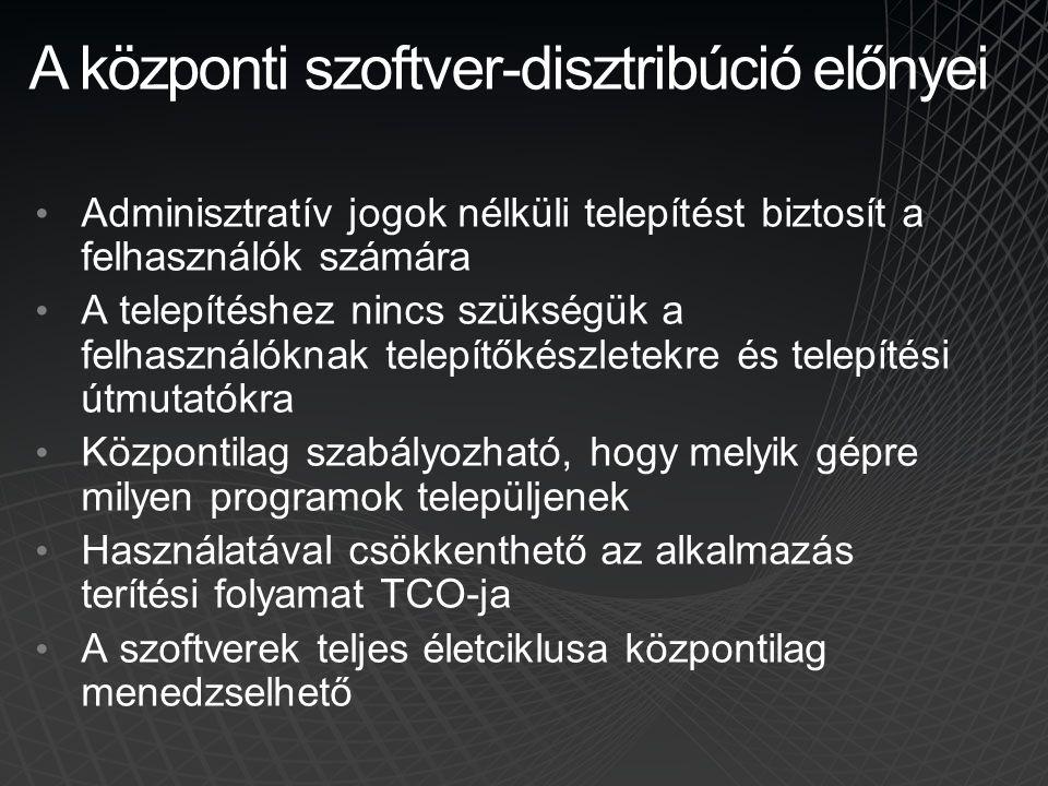 A központi szoftver-disztribúció előnyei Adminisztratív jogok nélküli telepítést biztosít a felhasználók számára A telepítéshez nincs szükségük a felh