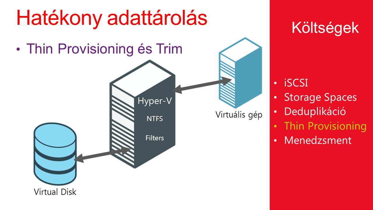 Hatékony adattárolás iSCSI Storage Spaces Deduplikáció Thin Provisioning Menedzsment Thin Provisioning és Trim Költségek Virtual Disk NTFS Filters Hyp