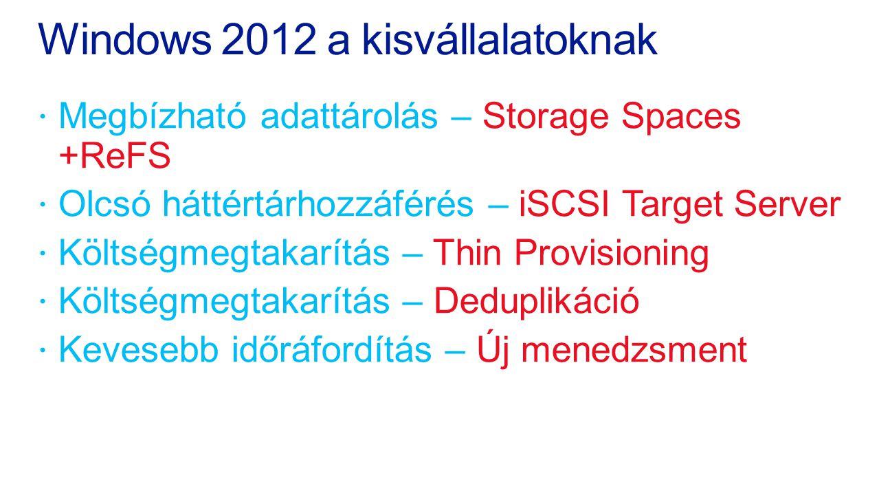 Windows 2012 a kisvállalatoknak  Megbízható adattárolás – Storage Spaces +ReFS  Olcsó háttértárhozzáférés – iSCSI Target Server  Költségmegtakarítá