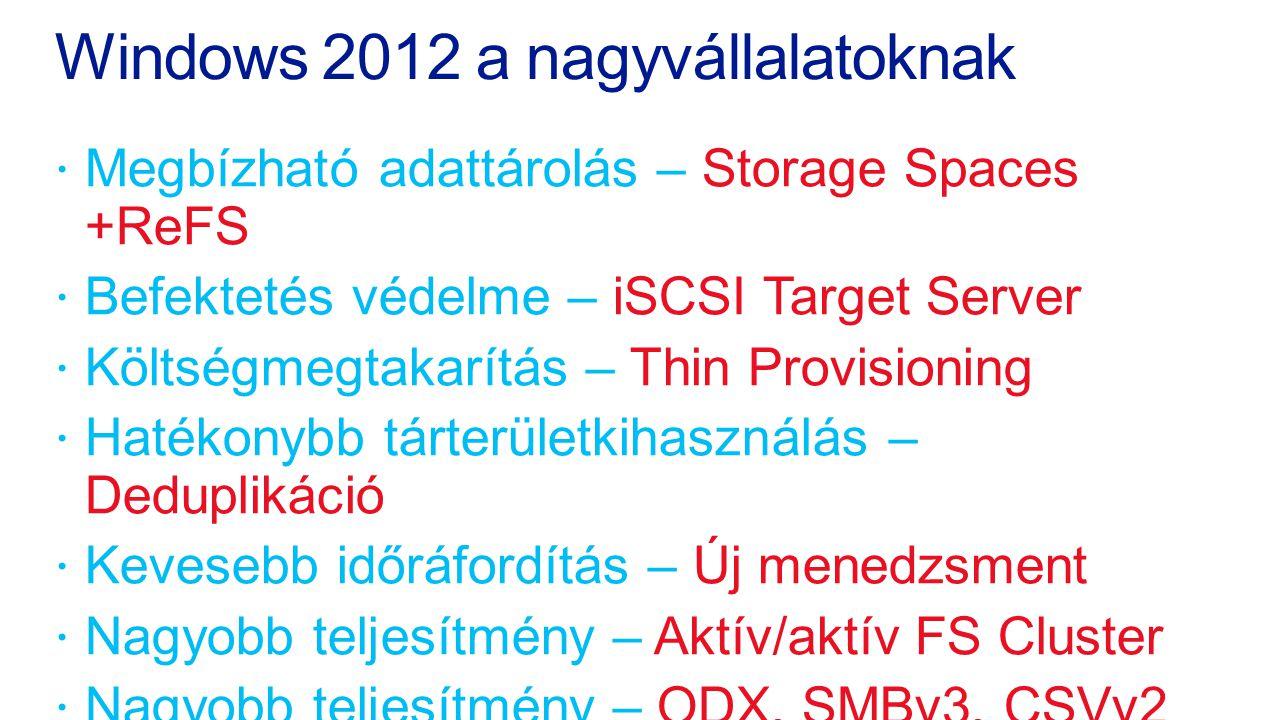 Windows 2012 a nagyvállalatoknak  Megbízható adattárolás – Storage Spaces +ReFS  Befektetés védelme – iSCSI Target Server  Költségmegtakarítás – Th