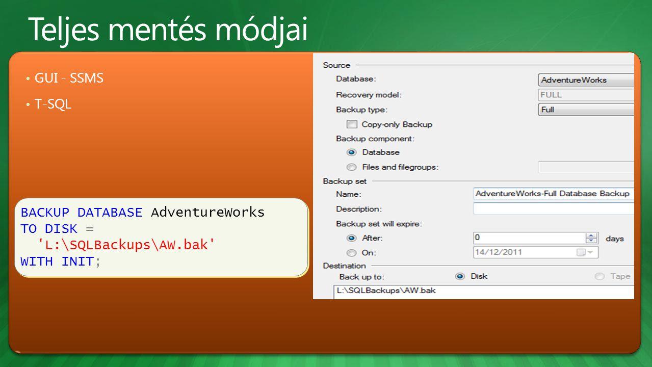 BACKUP DATABASE AdventureWorks TO DISK = L:\SQLBackups\AW.bak WITH INIT; BACKUP DATABASE AdventureWorks TO DISK = L:\SQLBackups\AW.bak WITH INIT; GUI - SSMS T-SQL