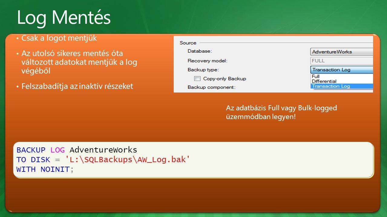 BACKUP LOG AdventureWorks TO DISK = L:\SQLBackups\AW_Log.bak WITH NOINIT; BACKUP LOG AdventureWorks TO DISK = L:\SQLBackups\AW_Log.bak WITH NOINIT; Csak a logot mentjük Az utolsó sikeres mentés óta változott adatokat mentjük a log végéből Felszabadítja az inaktív részeket Az adatbázis Full vagy Bulk-logged üzemmódban legyen!