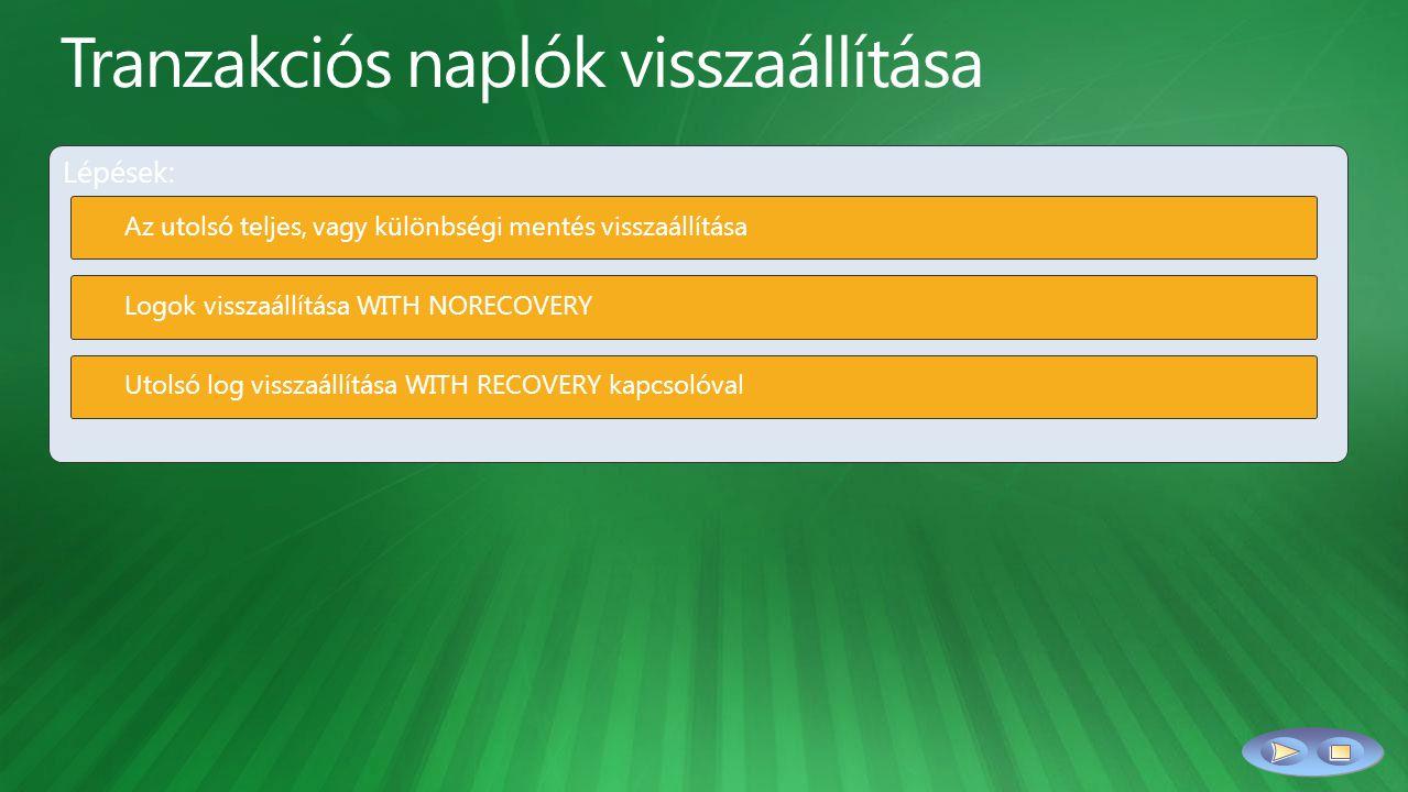Lépések: Az utolsó teljes, vagy különbségi mentés visszaállítása Logok visszaállítása WITH NORECOVERY Utolsó log visszaállítása WITH RECOVERY kapcsolóval