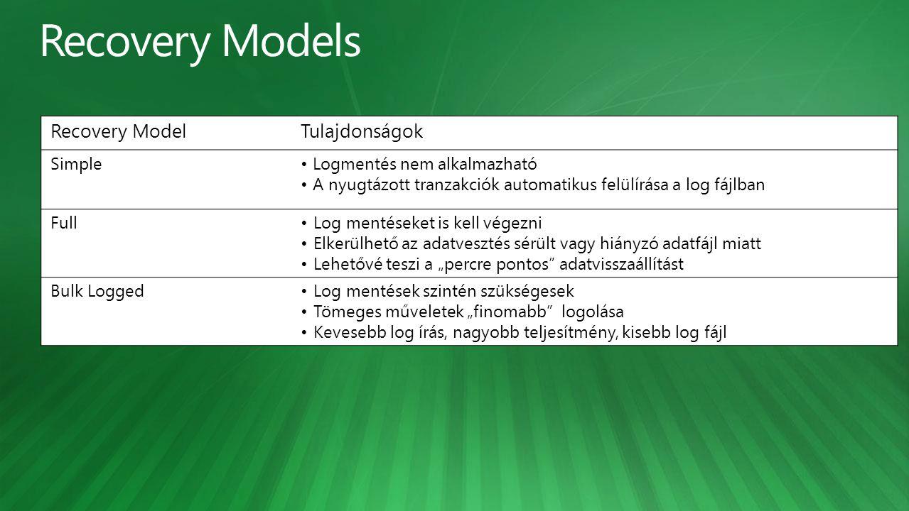 """Recovery ModelTulajdonságok SimpleLogmentés nem alkalmazható A nyugtázott tranzakciók automatikus felülírása a log fájlban FullLog mentéseket is kell végezni Elkerülhető az adatvesztés sérült vagy hiányzó adatfájl miatt Lehetővé teszi a """"percre pontos adatvisszaállítást Bulk LoggedLog mentések szintén szükségesek Tömeges műveletek """"finomabb logolása Kevesebb log írás, nagyobb teljesítmény, kisebb log fájl"""