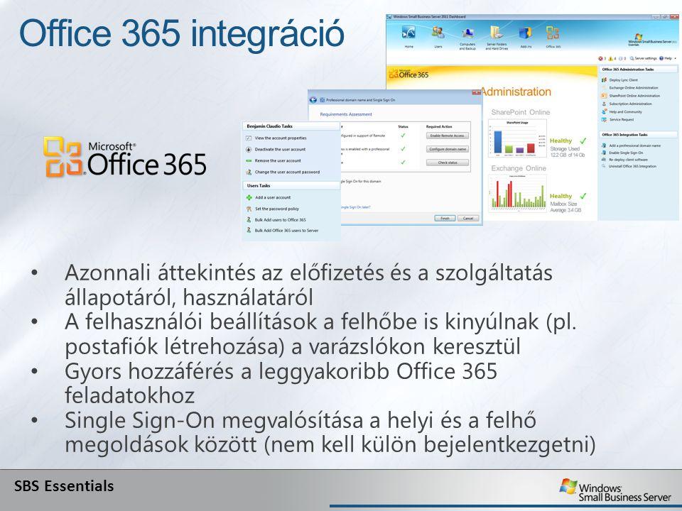 Office 365 integráció Azonnali áttekintés az előfizetés és a szolgáltatás állapotáról, használatáról A felhasználói beállítások a felhőbe is kinyúlnak