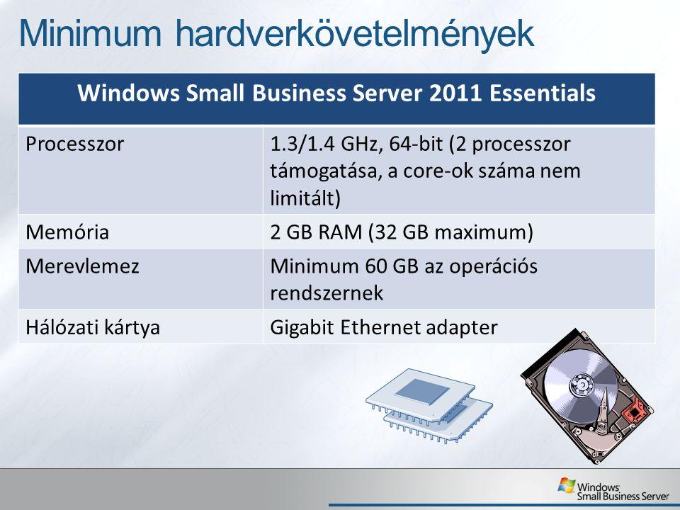 Minimum hardverkövetelmények Windows Small Business Server 2011 Essentials Processzor1.3/1.4 GHz, 64-bit (2 processzor támogatása, a core-ok száma nem