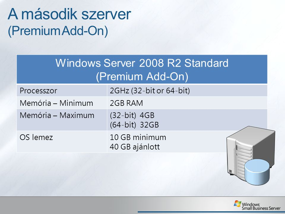 A második szerver (Premium Add-On) Windows Server 2008 R2 Standard (Premium Add-On) Processzor2GHz (32-bit or 64-bit) Memória – Minimum2GB RAM Memória