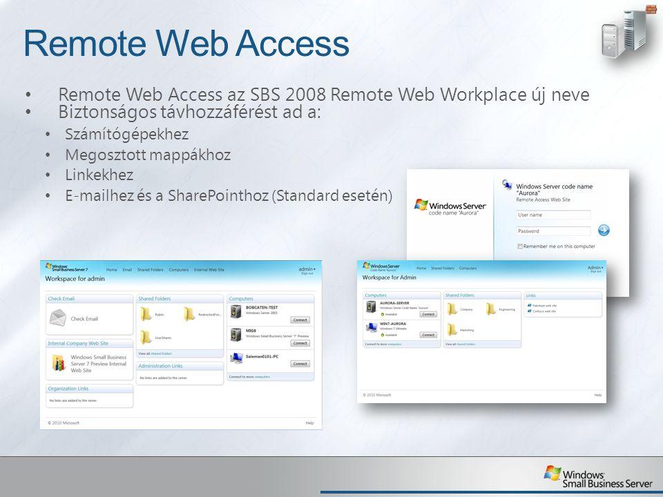 Remote Web Access Remote Web Access az SBS 2008 Remote Web Workplace új neve Biztonságos távhozzáférést ad a: Számítógépekhez Megosztott mappákhoz Lin