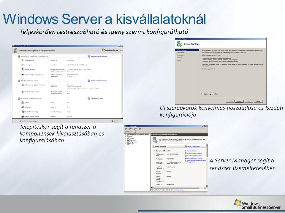 Small Business Server a kisvállalatoknál Bevált kisvállalati módszereken alapuló beállítások és varázslók Egyszerűsített telepítés és konfiguráció A telepítés, a konfiguráció és a felügyelet egységes megvalósítása