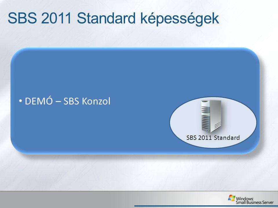 Small Business Server 2011 Standard Címtár (Active Directory) Fájlszerver Printszerver Hálózat PC felügyelet Levelezés Alkalmazások, adatbázisok futtatása Irodai, vállalati környezet Otthon, Internetkávézóban, Partnernél, ügyfélnél, pl.