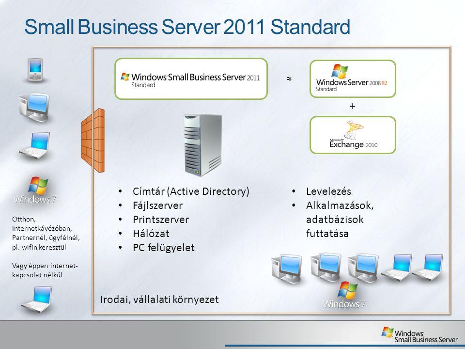 Small Business Server 2011 Standard Címtár (Active Directory) Fájlszerver Printszerver Hálózat PC felügyelet Levelezés Alkalmazások, adatbázisok futta